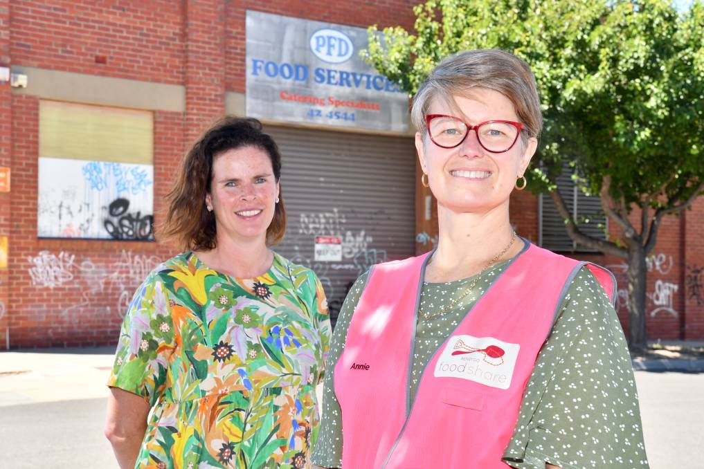 Bendigo Foodshare manager Bridget Bentley, left, and Annie Constable in front of the group's future residence at the old Gillies factory. Picture: NONI HYETT