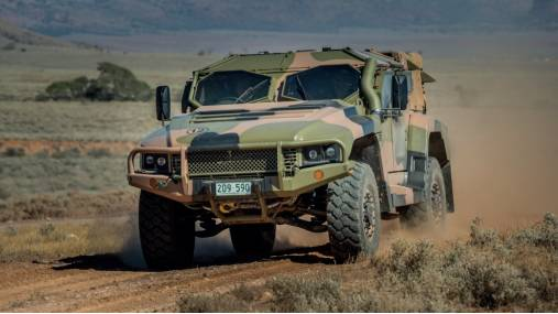 The Hawkei protected mobility vehicle is manufactured at Thales Australia's facility in North Bendigo.