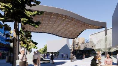 An artist's impression of the proposed shade structure, as published on the City of Greater Bendigo website.