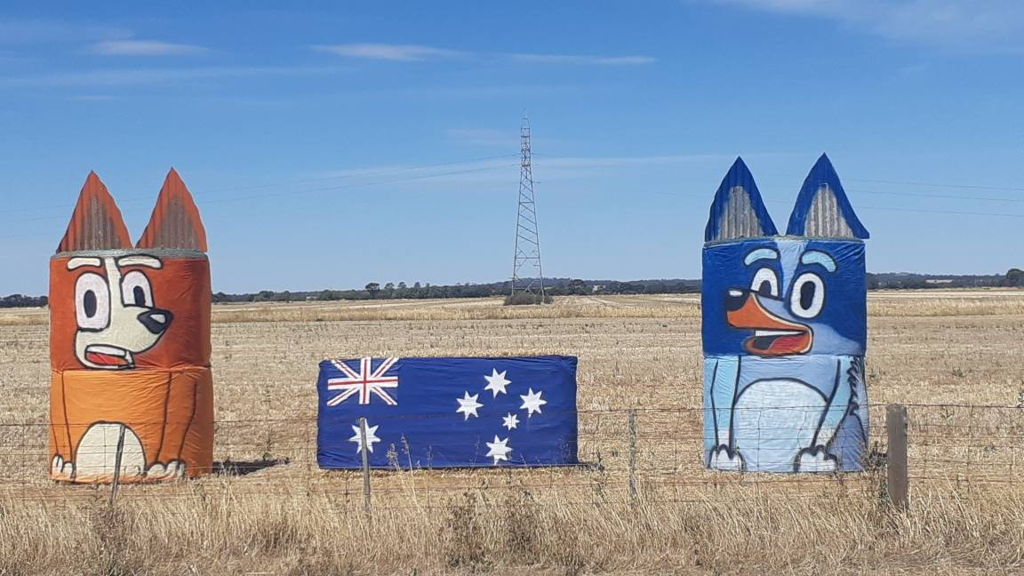 Bingo and Bluey with an Australian Flag - all made from hay - on the side of Bendigo-Pyramid Road, about eight kilometres south of Pyramid Hill. Picture: SUPPLIED