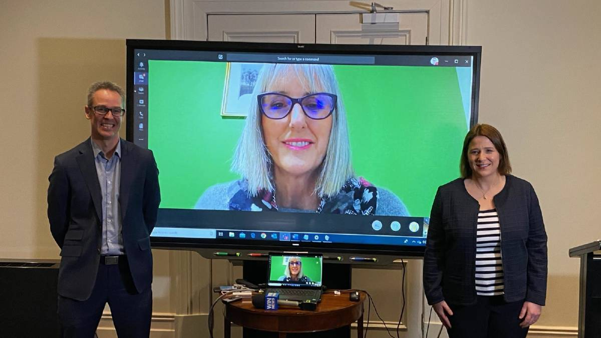 Ballarat mayor Ben Taylor, Bendigo mayor Margaret O'Rourke, and Member for Wendouree Juliana Addison at this morning's announcement in Ballarat. Cr O'Rourke appeared virtually. Picture: SUPPLIED