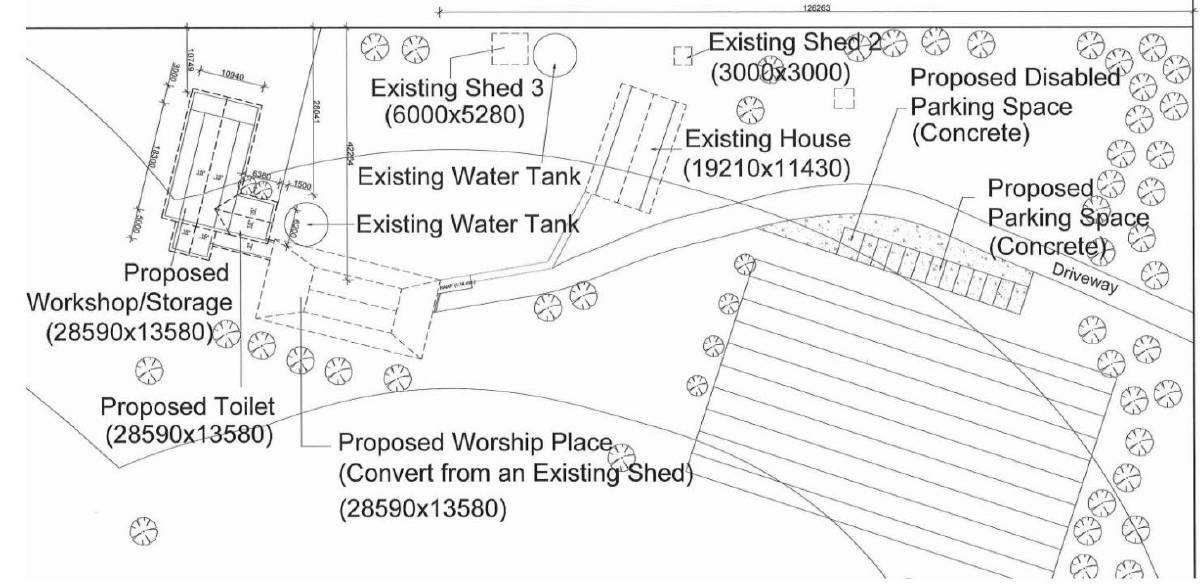 The site plan for the proposed place of worship, as released in the City of Greater Bendigo meeting agenda.