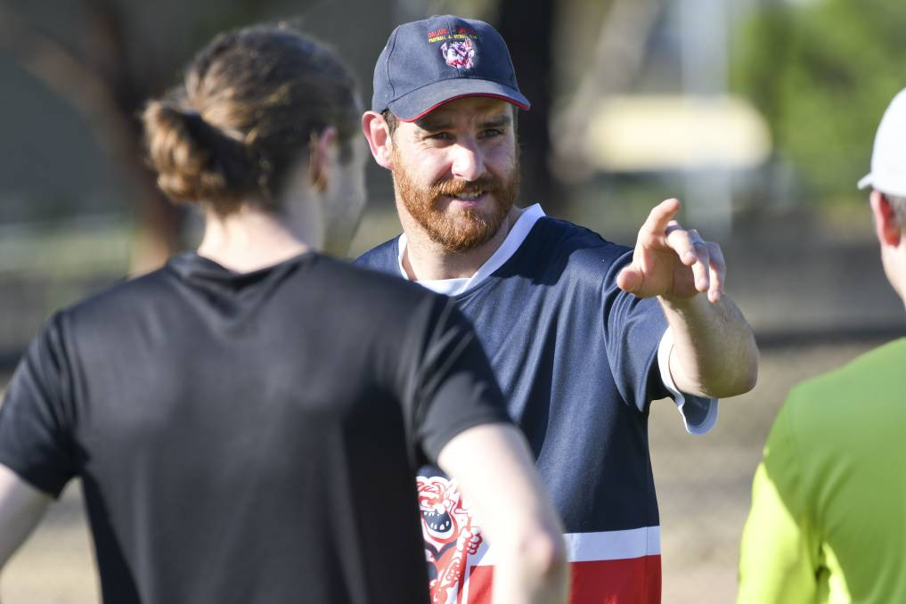 LEADER: Calivil United coach Glen Scholtes takes a pre-season training session last year.