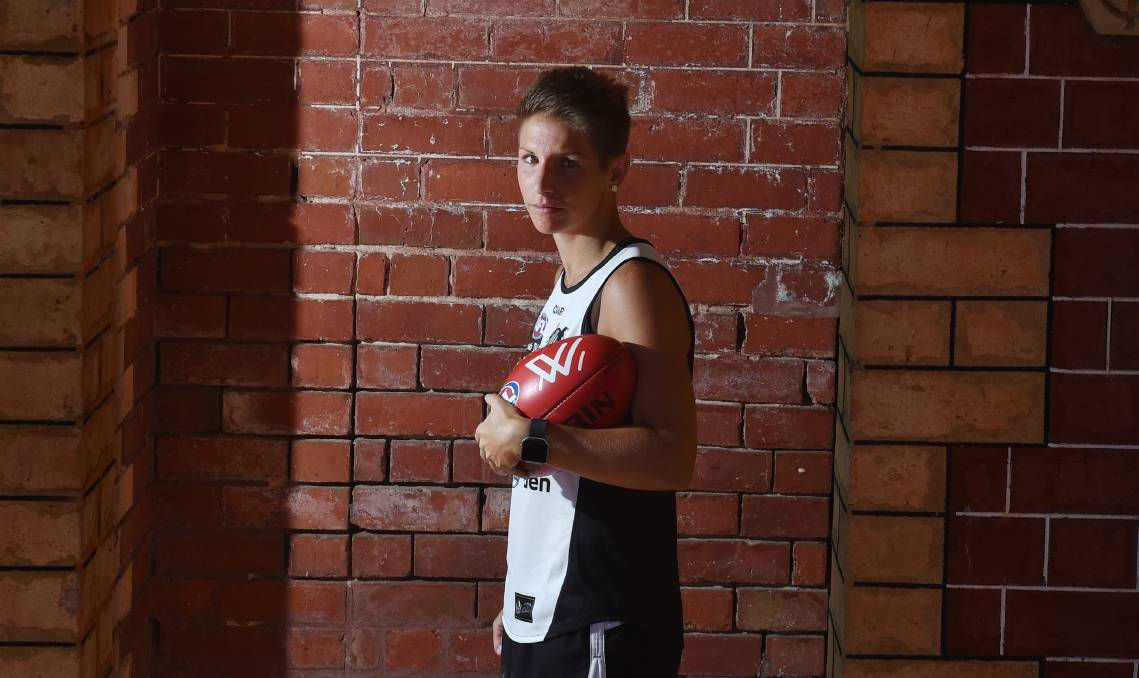FOOTY DREAM: Emma Grant pictured in January of 2017 ahead of her first AFLW season with Collingwood. Grant is also a former Bendigo Thunder captain. Picture: DARREN HOWE