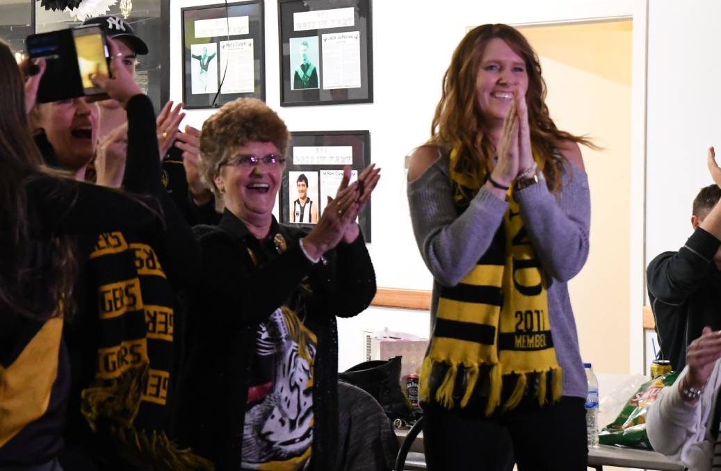 HE'S DONE IT: Dustin Martin's Nan, Lois Knight, and Aunty, Ange Dehany, at the Castlemaine Football-Netball Club social rooms at Camp Reserve the moment Martin won the Brownlow Medal on Monday night. Martin won the Brownlow with a record 36 votes. Picture: LUKE WEST
