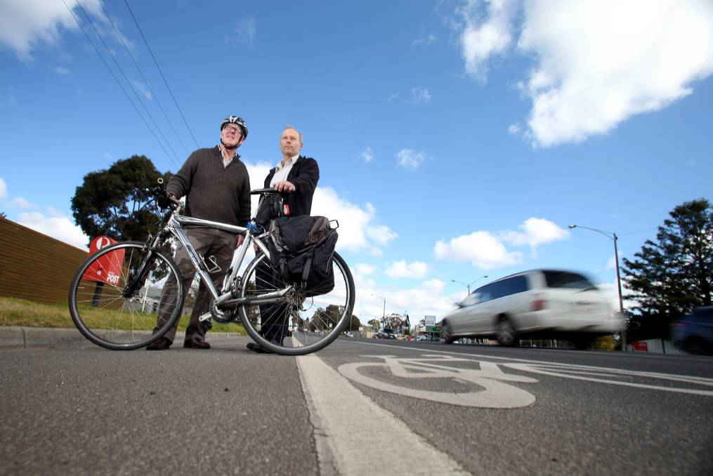 Rob Velthuis and Chriss Corr are calling for separated bike lane in Napier St upgrade. Picture: GLENN DANIELS