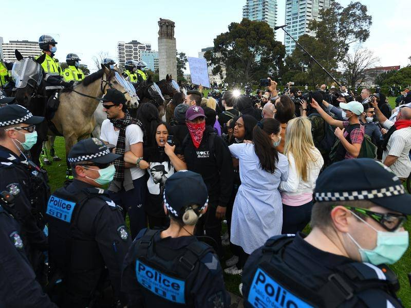 Police arrested several anti-lockdown protesters during violent scuffles in Melbourne.