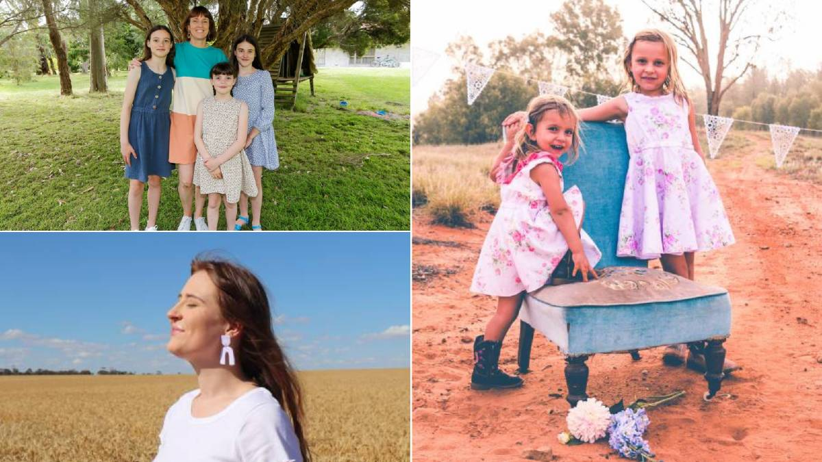 Clockwise from top left: Suz Seniore and her daughters; Pippa and Zoe Ebsworth modelling their mother Michelle's clothing line, and Emily Cousins.