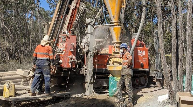 THE HUNT IS ON: Kalamazoo miners use a drilling rig to explore deep below the central Victorian surface. Picture: SUPPLIED