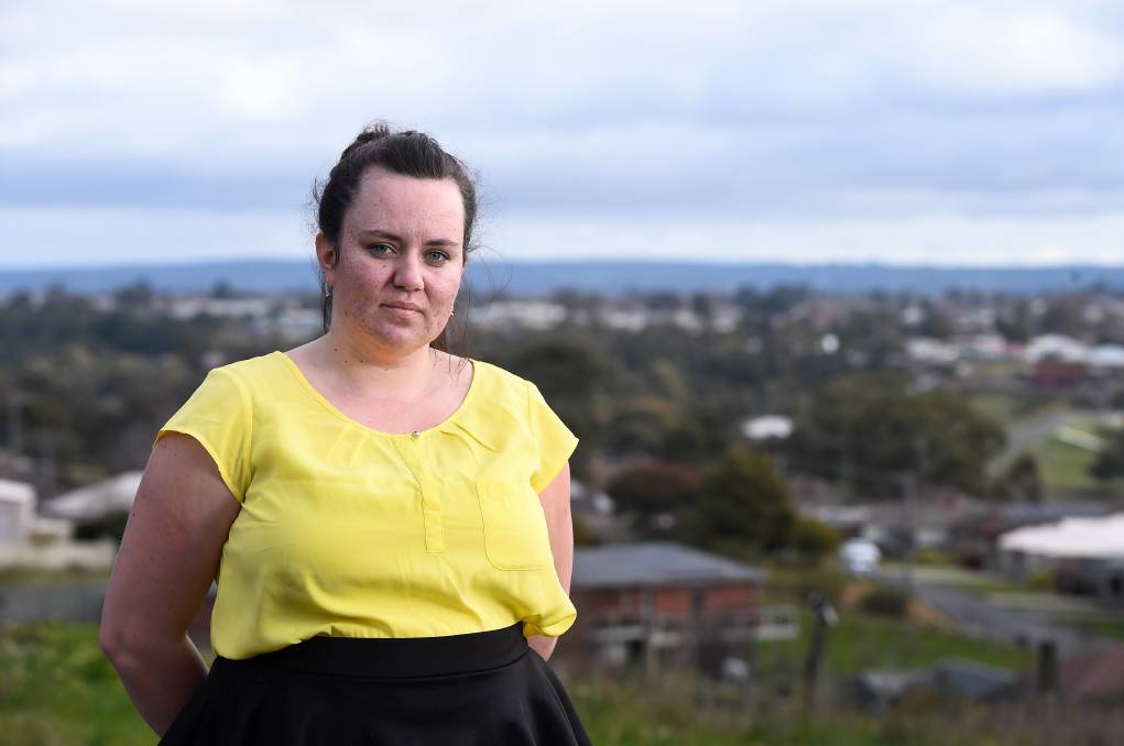 ANXIETY: Ballarat mum Meg Laidlaw says wearing a mask has been made incredibly difficult because of her PTSD. Picture: Adam trafford.