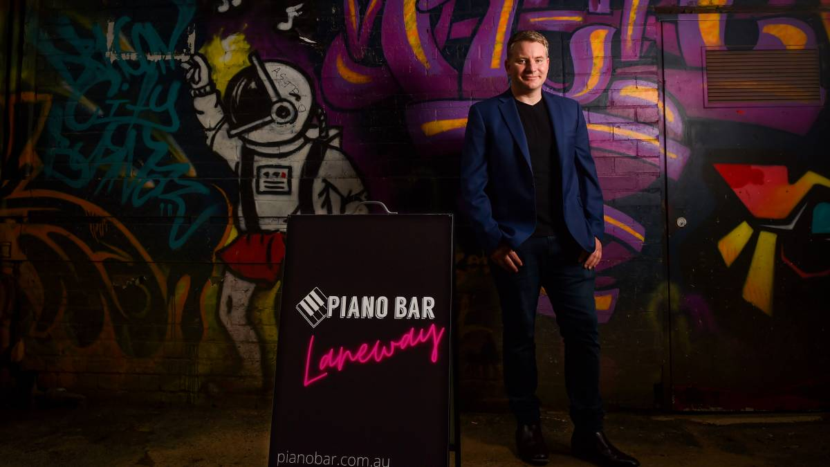 GOING LIVE: The Piano Bar part-owner Aaron Skinner is excited to open the venue this weekend with laneway performances planned. Picture: DARREN HOWE