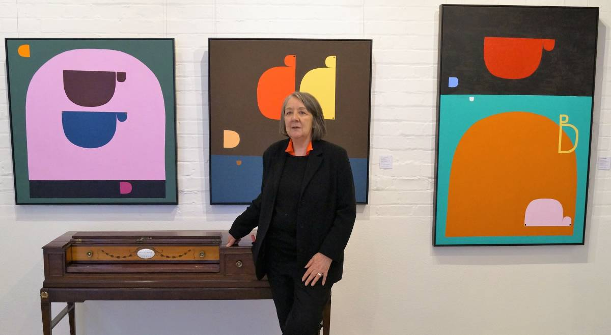 VISITING: Alcaston Gallery director Beverly Knight with some of the works that feature in the exhibition. Picture: CONTRIBUTED