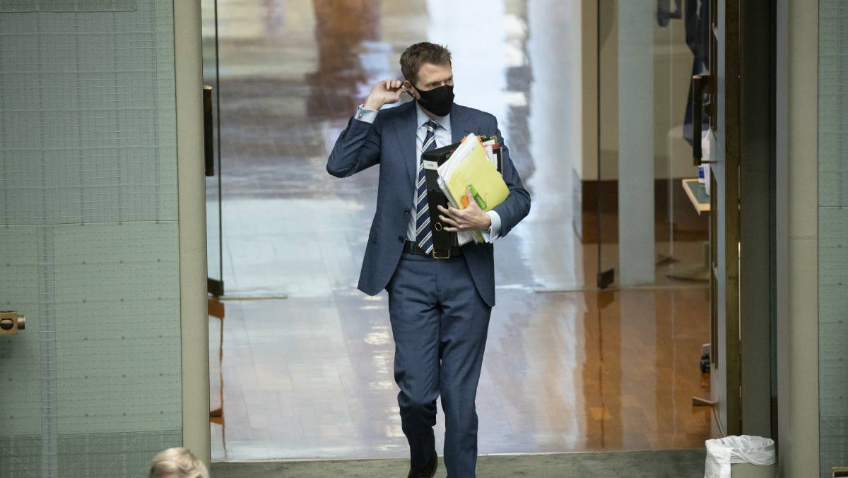 Industrial Relations Minister Christian Porter arriving for question time. Picture: Sitthixay Ditthavong