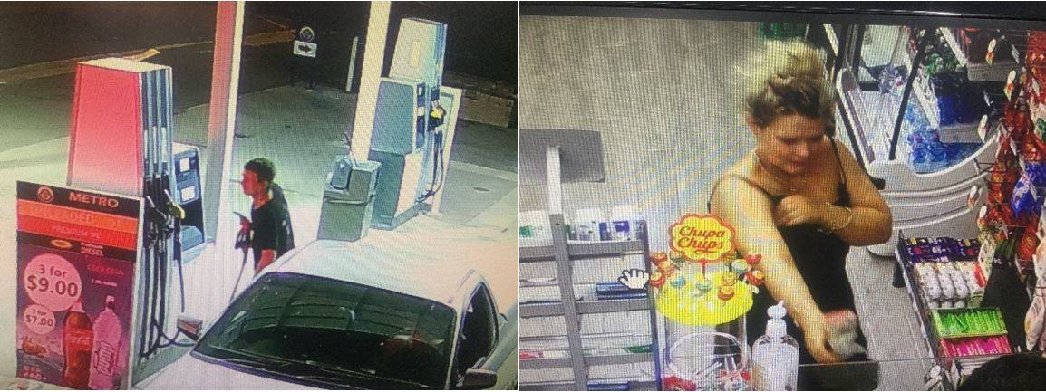 CCTV images of the people police would like to talk to regarding a petrol theft. Pictures: VICTORIA POLICE