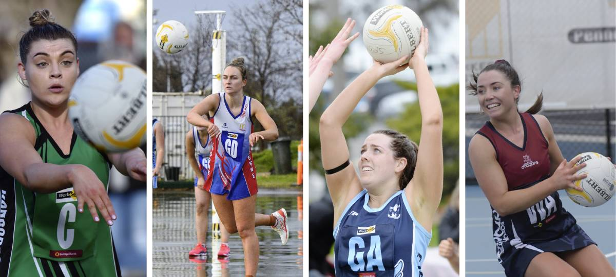 STARS: Chelsea Sartori, Maddy Stewart, Abbey Ryan and Meg Williams are among the central Victorian netballers to have signed with Victorian Netball League clubs for the 2021 season.