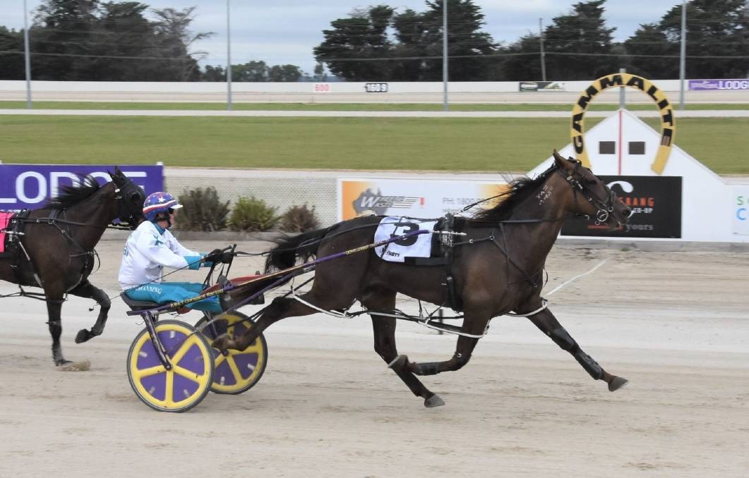 Apieceoflou, driven by Kerryn Manning, posts his second win in four Australian starts for Charlton trainer Greg Norman at Terang last Saturday night.Picture: CLAIRE WESTON PHOTOGRAPHY