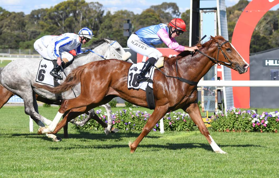 IMPRESSIVE: Just Folk, ridden by Melissa Julius wins the benchmark 70 handicap (1500m) at Sandown on Wednesday. Picture: PAT SCALA/RACING PHOTOS