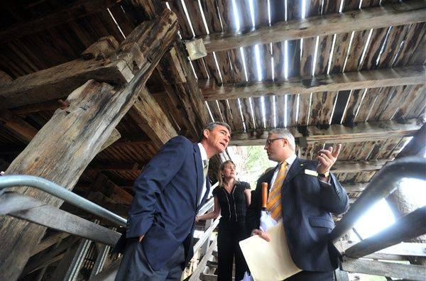 SHORED UP: Former Premier John Brumby, Jacinta Allan and Keith Baillie pictured under the boardwalk at the historic Echuca wharf in 2010.