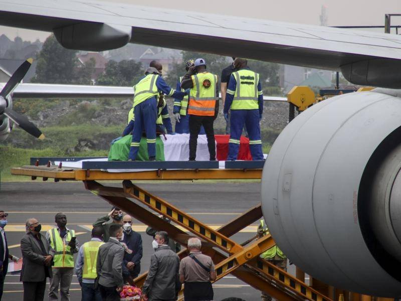The coffins of Luca Attanasio and Vittorio Iacovacci were loaded onto a plane for repatriation.