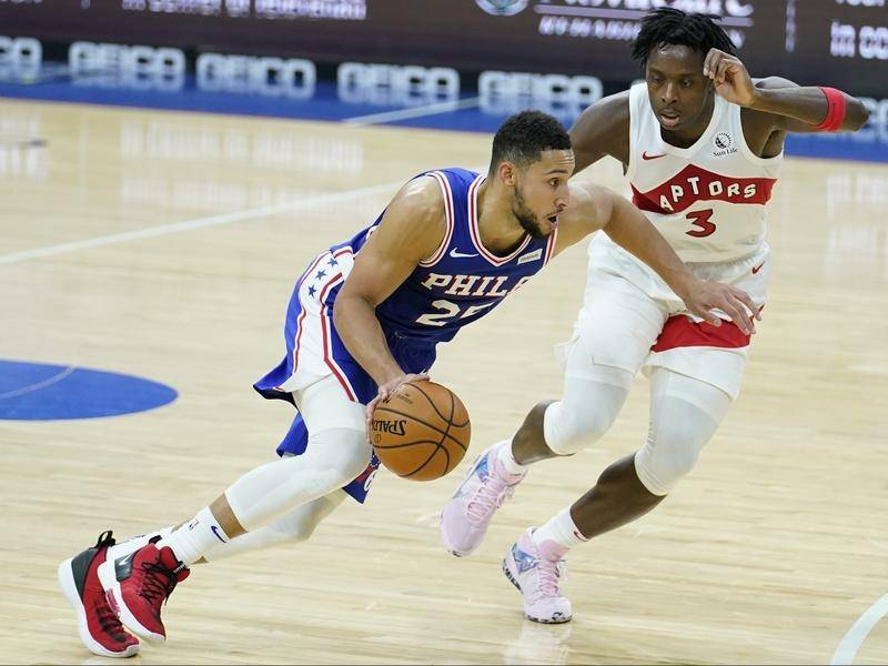 Ben Simmons earned NBA bragging rights over Aron Baynes with Philadelphia beating Toronto.