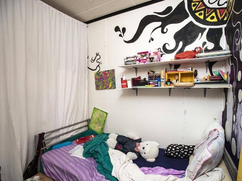 The bedroom where a teen refugee in the Nibok refugee settlement on Nauru spends most of her time.