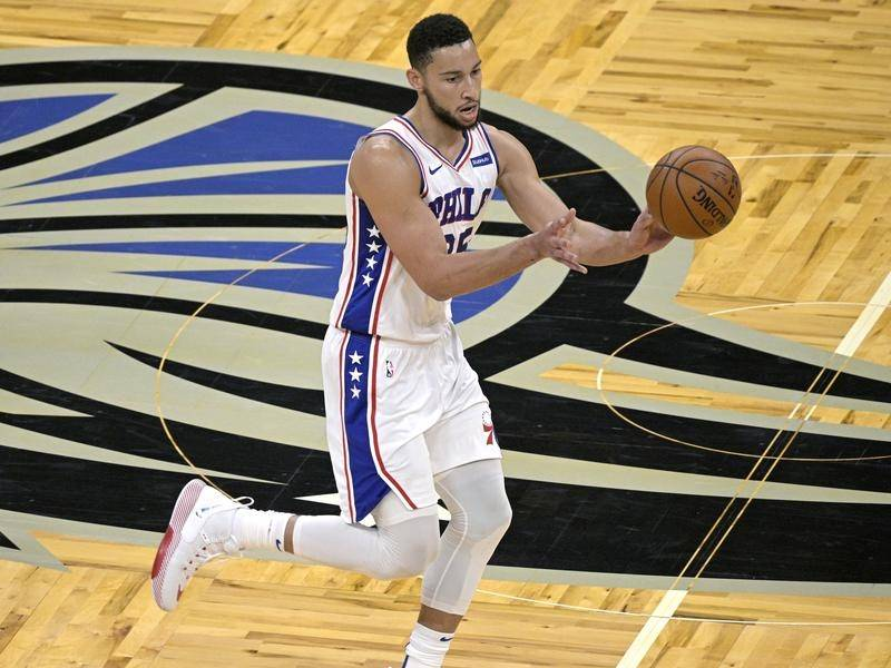 Philadelphia's Ben Simmons scored a rare three-pointer in their NBA win over the Orlando Magic.