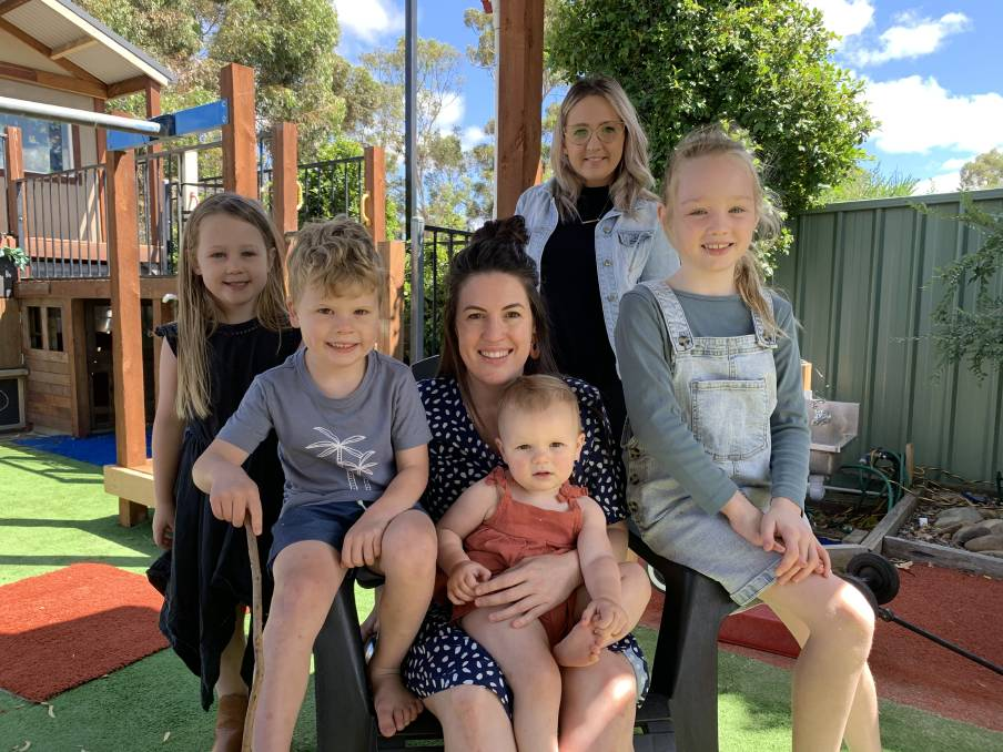 Hayley Kellow with her son Louis and daughter Isla, and Lauren Evans with her daughters Lyla and Edie. Picture: TARA COSOLETO
