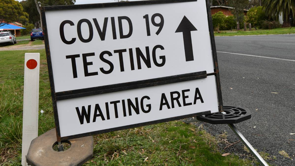 A sign at the front of Bendigo's testing clinic. Picture: DARREN HOWE