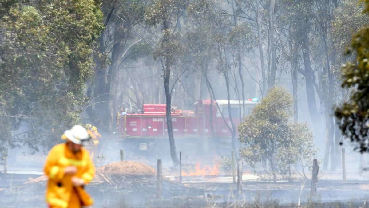 BURNT GROUND: A grass fire in Myers Flat on Tuesday. Picture: NONI HYETT